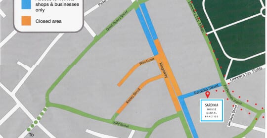Directions to the Clinic during the #HolbornFire Road Closures